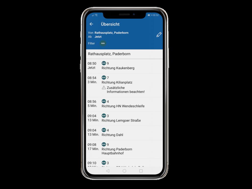 PaderSprinter Fahrplan-App Abfahrten