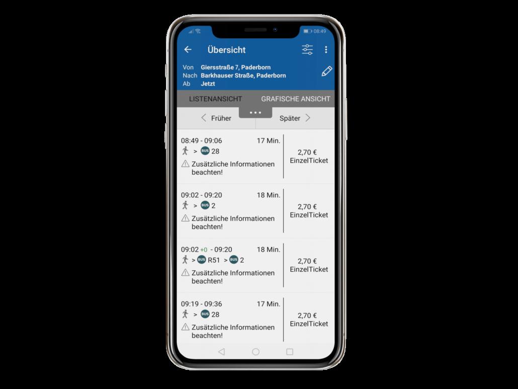 PaderSprinter Fahrplan-App Fahrplanauskunft