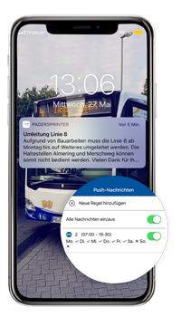 PaderSprinter Fahrplan-App, Push-Nachrichten