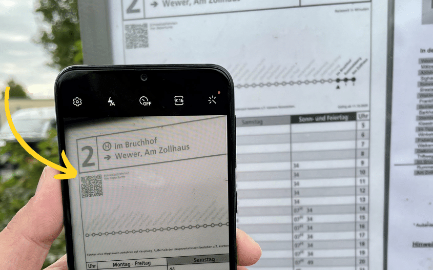 QR Code auf Aushangsfahrplänen