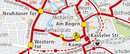 Stadtplan mit PaderSprinter Liniennetz
