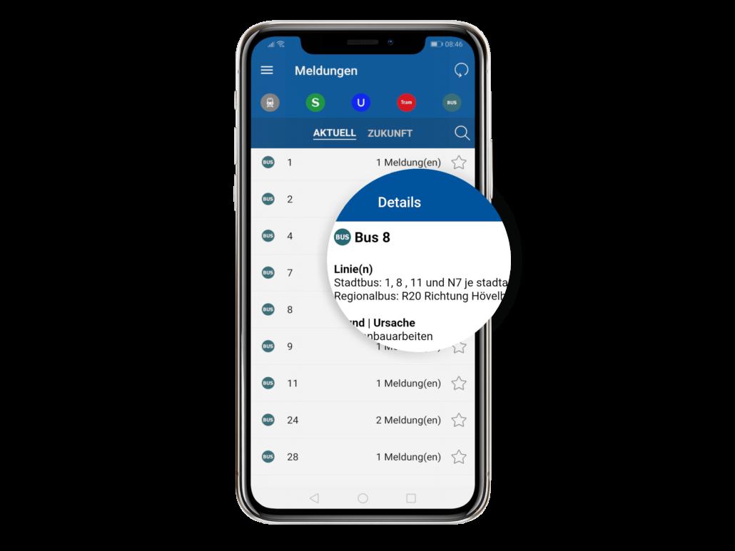 PaderSprinter Fahrplan-App Verkehrshinweise